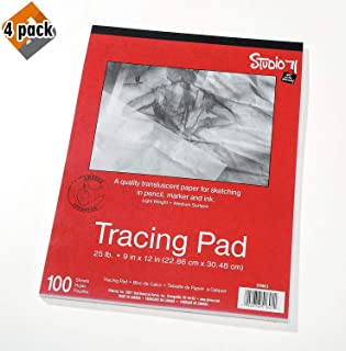 """Darice 9""""x12"""" Artist's Tracing Paper, 100 Sheets – Translucent Tracing Paper for Pencil, Marker and Ink, Lightweight, Medium Surface (97490-3) - 4-Pack"""