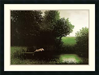 Framed Wall Art Print Diving Pig by Michael Sowa 34.12 x 26.12 in.