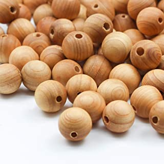 Prometis 200pcs 8mm Natural Sandalwood Round Beads Gorgeous Craft Handmade Polished Spacer Beads with Elastic Cord for Bracelets Necklace DIY Jewelry Making, 3 Sizes (6mm, 8mm, 10mm)