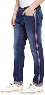 Ben Martin Men's Slim fit Designer Jeans -(BM-TAPE-JNS-3DB-WHT-RED-NAVY)