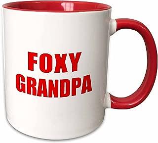3dRose 202106_5 Foxy Grandpa-Funny Red Text Design For A Cool Hot Grandfather Mug, 11 oz