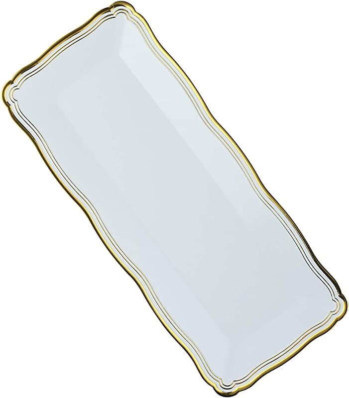Plastic Serving Tray White Rectangular Serving Trays With Gold Rim Border Disposable Heavyweight Serving Party Platters 13 75 X 6 6 Pack Posh Setting