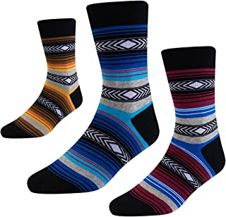 Mens Dress Socks-Striped Crew Socks with Funky Colorful Patterned-Combed Cotton US Size 8-12 3 Pack SEESILY