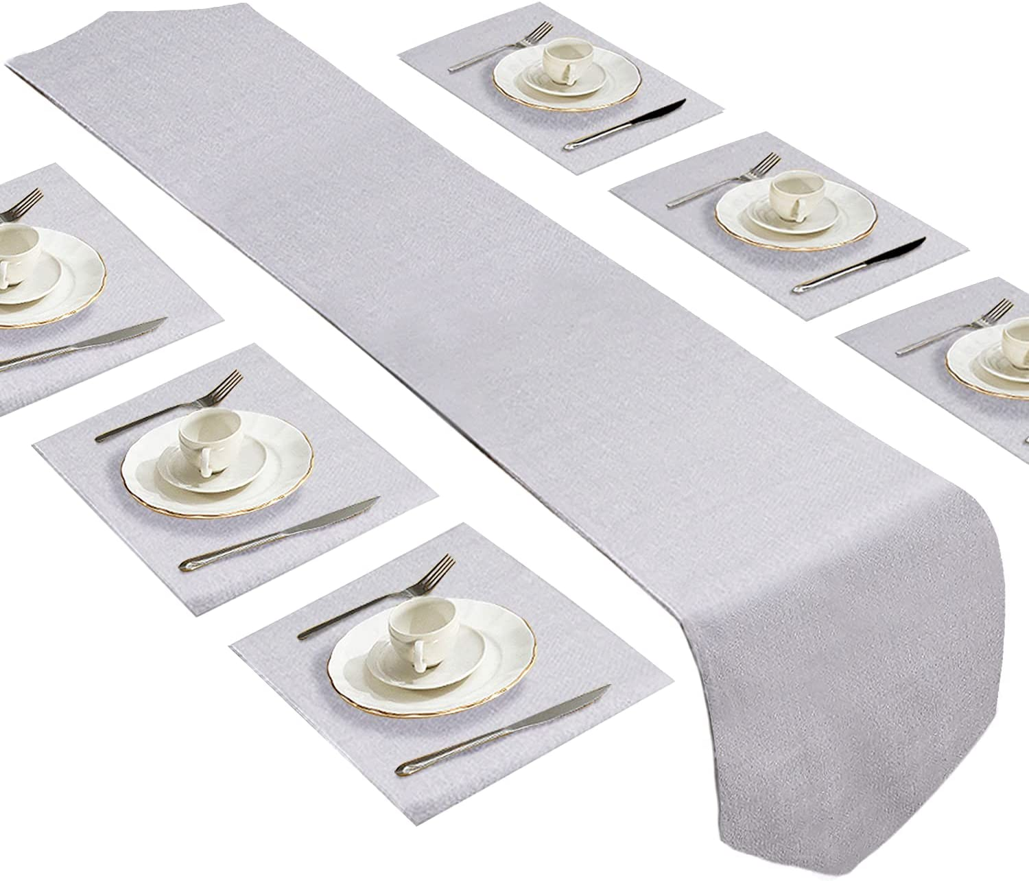 Dubulle Grey Finally popular brand Table Runner and Placemats for Time sale 6 Kitchen Din Set of