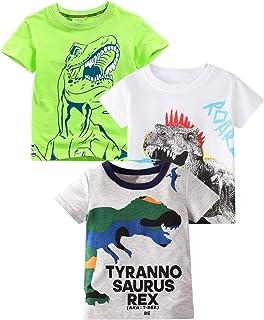 Toddler Little Boys 3-Pack Dinosaur Short Sleeve Crewneck...