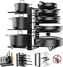 Pot Rack Organizer, 8 Tiers Adjustable Pots and Pans Organizer, Large Capacity Pot Lid Holders & Pan Rack for Kitchen Cabi...