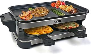 Appareil a Raclette 4 Personne, Machine a Raclette Multifonction, Revêtement Antiadhésif 4 Poêlons Antiadhésifs, Plaques A...
