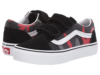 Vans Kids Old Skool V (Little Kid/Big Kid) ((Camo) Black/Racing Red) Boys Shoes