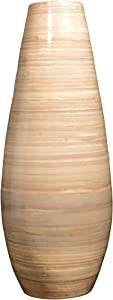 """VILLACERA Natural Handcrafted 22"""" Tall Tear Drop Floor Vase for Silk Plants, Flowers, Filler Decor   Sustainable Bamboo, (L) x (H) 9"""" x (W) 9"""