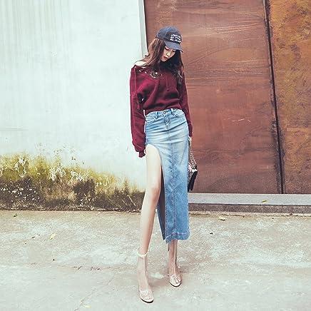 RIVI Street sexy side slit skirt in denim long bag hip skirt jeans women