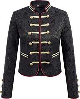 Women's Open Front Long Sleeves Blazer Buttons Brocade Jacket Military Suit