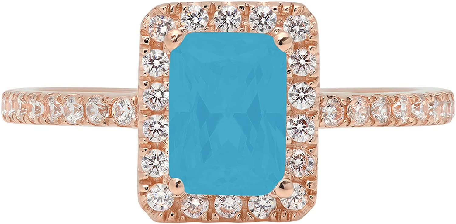 1.79ct Brilliant Emerald Cut Solitaire with accent Flawless Ideal VVS1 Simulated Blue Turquoise CZ Engagement Promise Statement Anniversary Bridal Wedding Designer Ring 14k Rose Gold