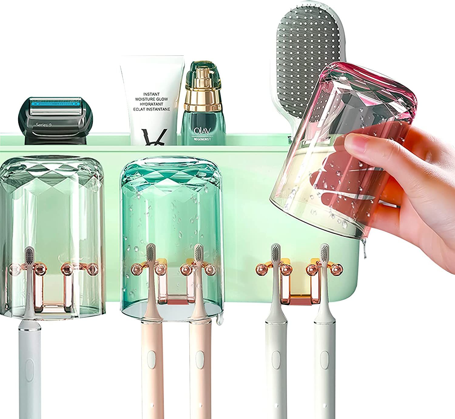 WAYCOM 2021 Special price for a limited time Luxurious Credence Toothbrush Holder Wall Mounted-Multifuncti