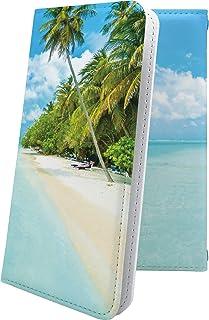 isai V30+ LGV35 ケース 手帳型 ハワイアン ハワイ 夏 海 ヤシの木 ビーチ イサイ プラス おしゃれ isaiv30 plus きれい 綺麗ケース 7Wa35348Tqh