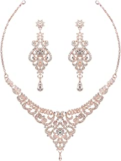 HapiBuy Crystal Wedding Jewelry Set Necklace Earring Set for Women and Brides Rose Gold and Silver Bridal Statement Jewelr...