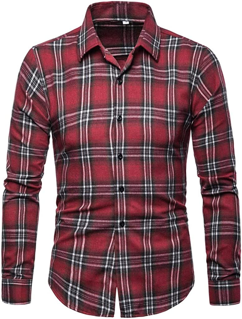 MODOQO Mens Dress Shirts,Business Loose Fit Wrinkle-Free Plaid Standard-Fit Button Down Shirt