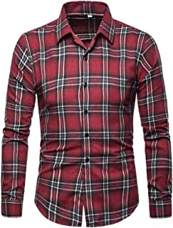 3a1e35e6bf3b NUWFOR Men s Fashion Slim Fit Personality Lattice Casual Long Sleeve Shirts  Blouse