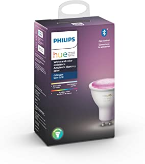 Philips Hue Spotlight White and Colour Ambiance Single Smart LED [GU10 Spot] with Bluetooth., Works with Alexa and Google ...