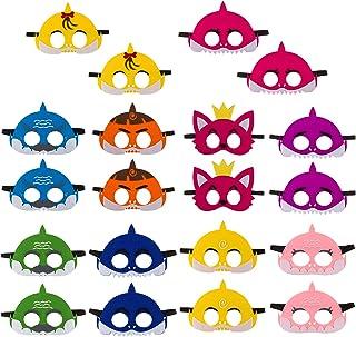 20Pcs Little Shark Mask Children's Birthday Party Family Party Cute Cartoon Soft Graduation Gift Boys Girls Parties Suppli...