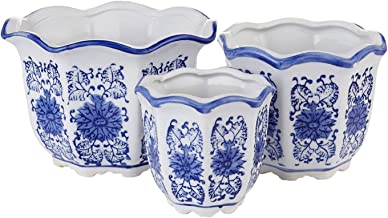 Blue and White Porcelain, HakkaGirl Flower Pots, Chinese Ceramic Planters for Decorative -Set of 3
