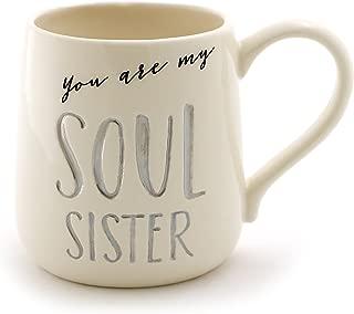 "Enesco 6000526 Our Name Is Mud ""Soul Sister"" Stoneware Engraved Coffee Mug, 16 oz, Gray"