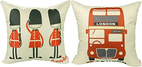 Luxbon Set of 2Pcs Lovely British Royal Guards Love London & The Routemaster Red London Bus Cotton Linen Sofa Couch Chair Throw Pillow Cases Decorative London Decor Cushion Covers 18x18/45x45cm
