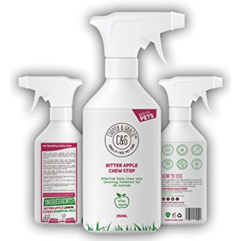 C&G No Chew Bitter Apple Spray for Dogs – Stop Dog Chewing Deterrent – Alcohol Free Anti Chew Repellent Formula for Puppies Cats Horses and Rodent Pets