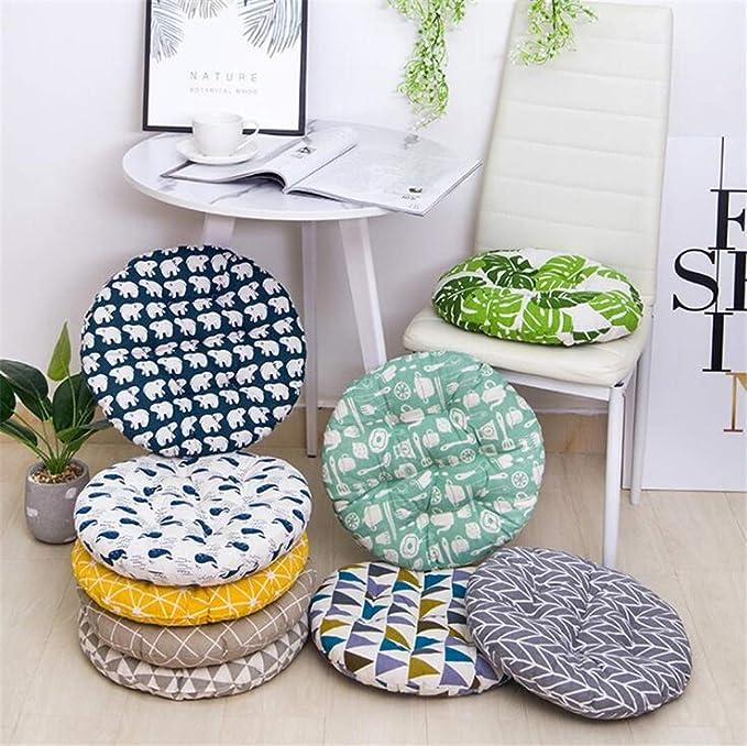 dimensioni di 45 cm 45 x 45 cm interno ed esterno Cuscino rotondo per sedia Balena articolo ideale per ufficio ottimo per sedia normale o giapponese fabbricato in cotone e morbidissimo lino