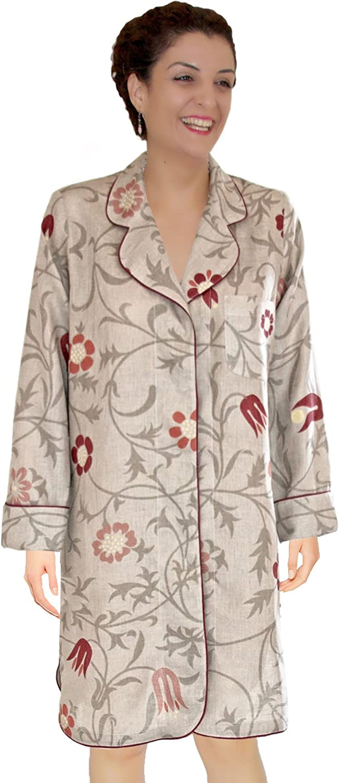 Armani International Women Long Sleeve Pajama Top Snap Down Sleep Shirt Dress  Crafted in Europe