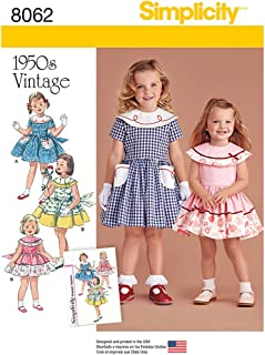 Simplicity 8062 Vintage 1950's Fashion Girl's Dress Sewing Pattern, Sizes 1/2-3