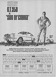 """Magazine Print Ad: 1966 Carroll Shelby Ford Mustang, 289 cubic inch, 4 bbl V-8 Engine,""""Shelby GT-350 is""""Son of Cobra.Adults Only!"""""""""""