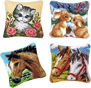 kesoto 4 Sets Latch Hook Rug Making Kits for Adults Embroidery Rabbit Cat Horse Pillowcase 43 X 43Cm