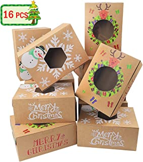 Moretoes 16pcs Christmas Cookie Gift Boxes Treat Boxes For Gift Giving, Pastry, Candy, Party Favors, Vintage Kraft Design with Clear Window