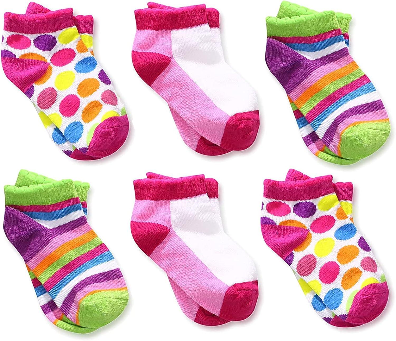 Jefferies Socks Baby Girls' Dots Color Block Stripes Low Cut Socks 6 Pair Pack