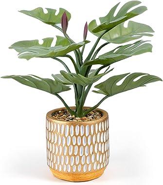 Keleer Artificial Plant in Pot,TropicalMonstera PlantsinElegant CeramicPlanter,Potted Artificial Succulents and Plants f