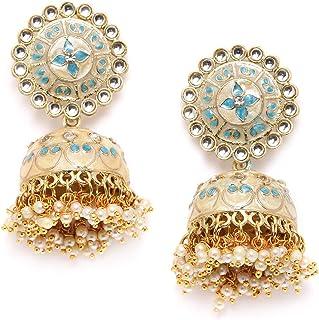 ZAVERI PEARLS Metal Enamelling Turquoise Blue and Off-White Kundan Ethnic Jhumki Earring For Women-ZPFK9614