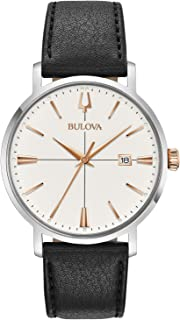 Bulova - Classic Aerojet 98B254 - Reloj de Pulsera de diseño para Hombre - Correa de Cuero - Color Oro Rosa y Negro
