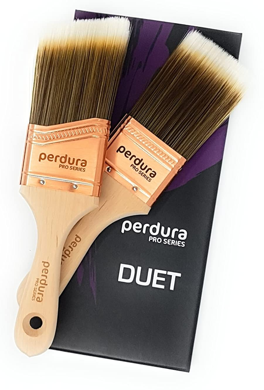 Perdura Duet Sash Trim Paint Brush Twin Pack - 2 inch Professional Quality Flat and Angled Brushes for Cutting Trim and Detail Work - Water and Oil Based Paints - Contractor or DIY - Home Art + Craft
