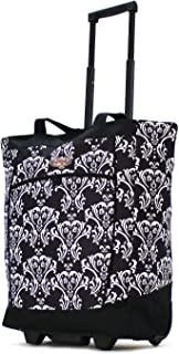 Olympia Fashion Rolling Shopper Tote - Damask Black, 2300 cu. in.