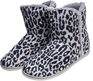 4bf358e54 Women's Comfort Warm Faux Fleece Fuzzy Ankle Bootie Slippers Plush Lining  Slip-on House Shoes