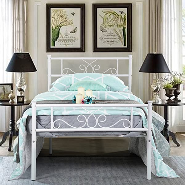 SimLife Platform Kids Boys Adult No Box Spring Needed Princess White Twin Size Metal Bed Frame With Headboard And Footboard Mattress Foundation