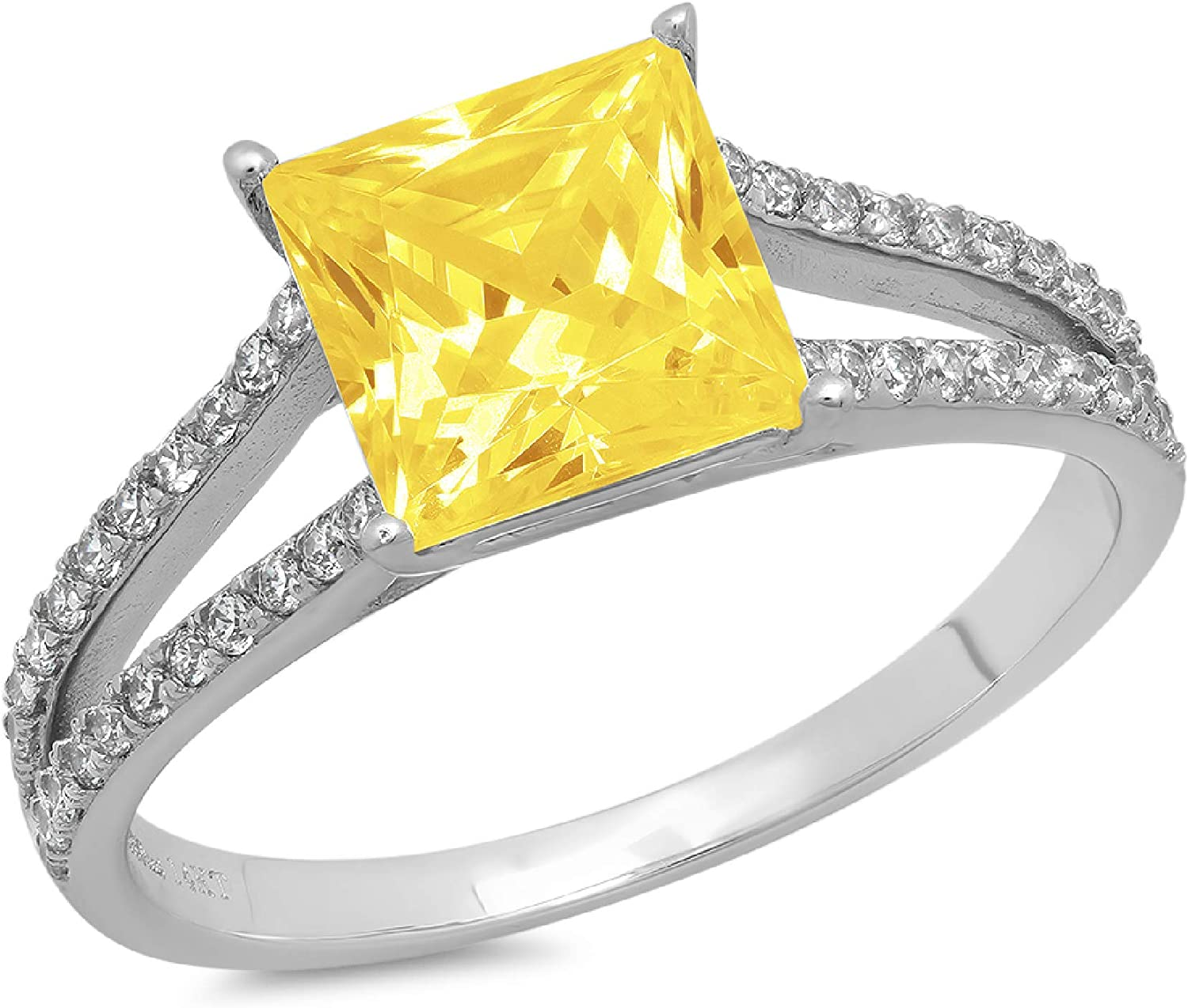 2.36ct Princess Cut Solitaire with Accent split shank Canary Yellow Ideal VVS1 Simulated Diamond CZ Engagement Promise Statement Anniversary Bridal Wedding Ring 14k White Gold