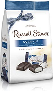 Russell Stover Dark Chocolate Coconut Mini Gusset Bag 6 Ounce Russell Stover Chocolate Coconut Chocolate Candy Bag; Sweet Coconut Covered in Rich Chocolate Candy, Individually Wrapped