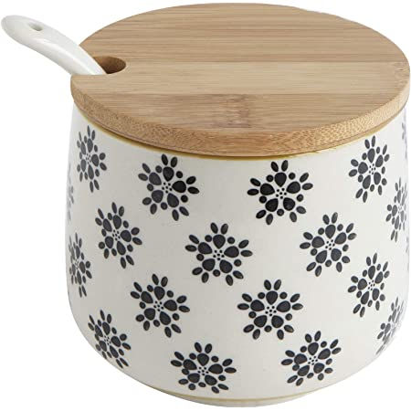OnePine 260ml//9 oz Keramik Gew/ürzdosen Salztopf Keramik Zuckerdose Gew/ürzgl/äser mit L/öffel und Bambus Deckel f/ür Tee Zucker Salz Gew/ürze