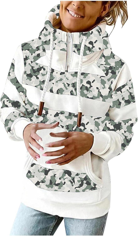 Gibobby Hooded Sweatshirts for Women 1/4 Zipper Long Sleeve Hoodie Fashion Printed Drawstring Pullover Warm Pocket Shirt
