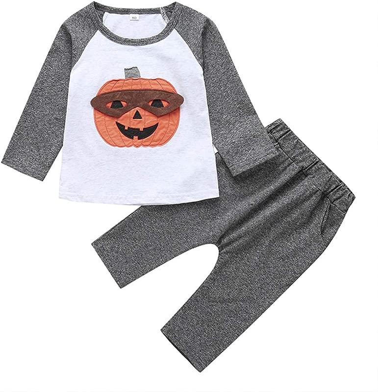 Baby Boy Girl Pumpkin Print T Shirt Toddler Kids Halloween Outfits Set Long Sleeve Tops Pants Costume Clothes