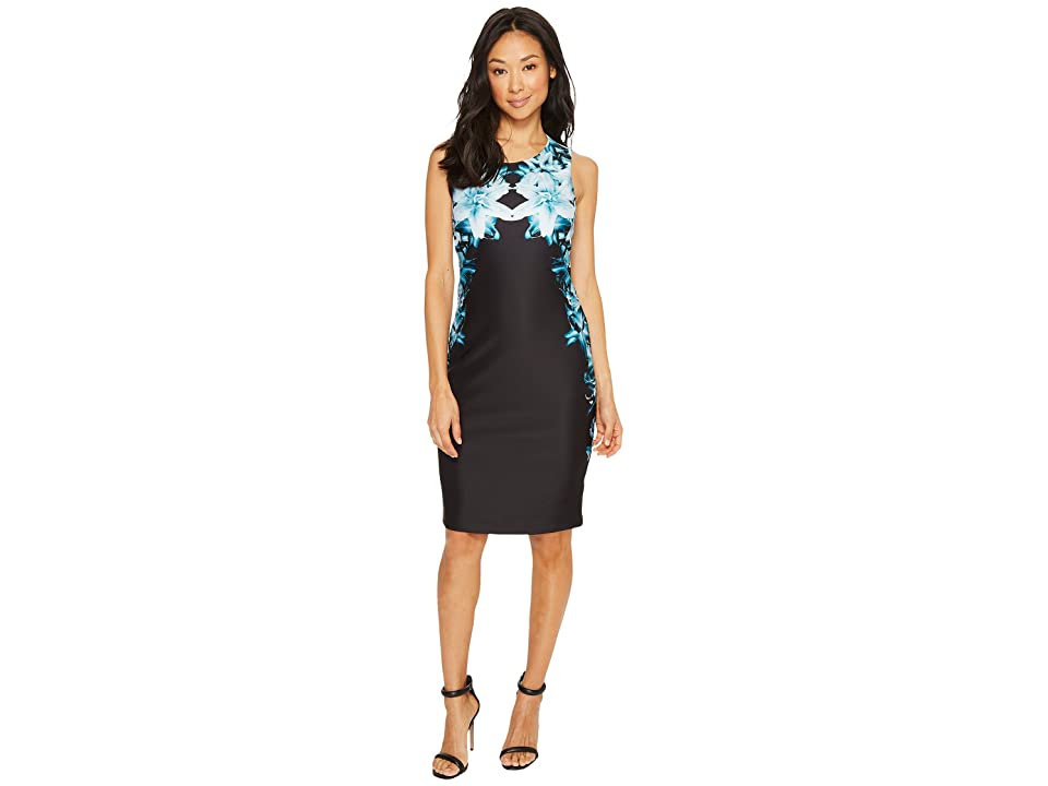 Calvin Klein Printed Sheath Dress (Cypress/Black) Women