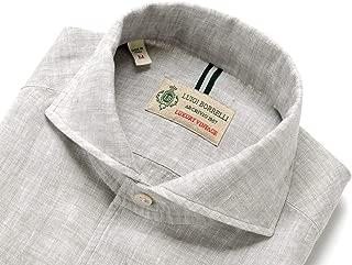 ルイジボレッリ ルイジボレリ LUIGI BORRELLI / 20SS!製品洗いリネンポプリン無地イタリアンカラーシャツ「VESUVIO(9130)」 (グレージュ) メンズ