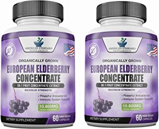 Elderberry European Organic Sambucus Nigra 10,800 miligram per Serving or 3600 miligram Per Capsules, 36x Concentrated Fru...