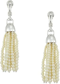 Glass Pearl Tassel Clip Earrings